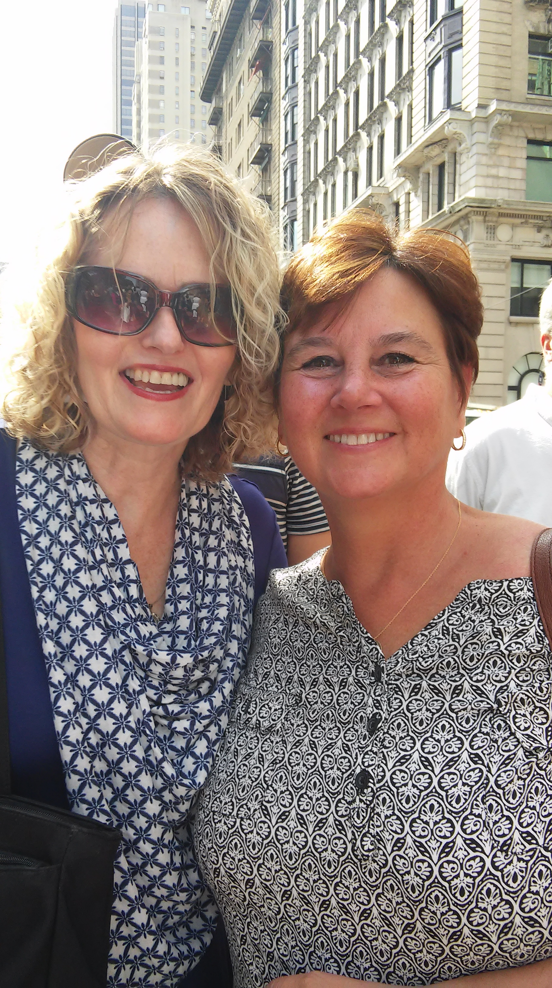 Office Manager Lynne-Marie Liggan waits with friend Eve Sandy to see Pope Francis in Central Park