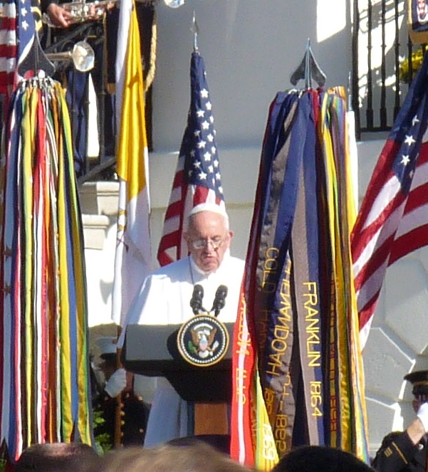 Pope Francis speaks at the White House